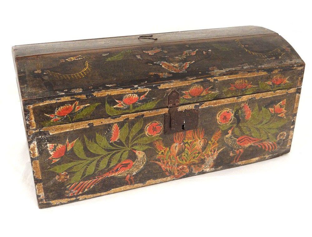 Coffre coffret de mariage normand bois polychrome oiseaux fleurs - peinture bois et fer