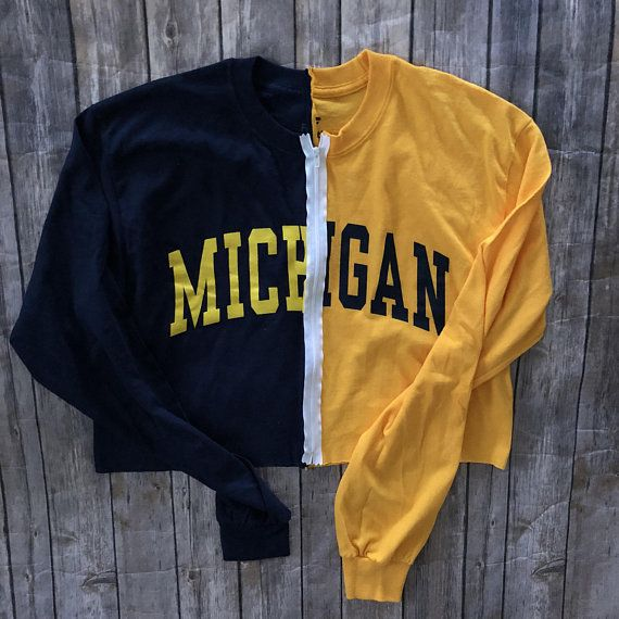 University of Michigan 1/2 and 1/2 Long Sleeve Zipper Top / Wolverines Tailgate Top / Tailgate Apparel / Game Day Shirt / Grad Gift