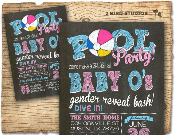Pool Party Gender Reveal Invitation Pool Party Baby Shower Summer Gender Reveal Inv Gender Reveal Invitations Gender Reveal Themes Baby Gender Reveal Party