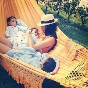 Lounging together in the hammock.