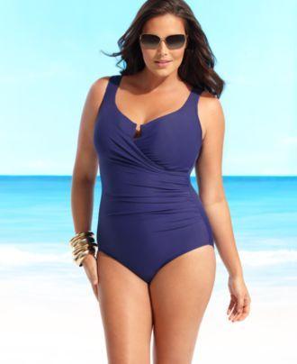 fdd7bbec89 Miraclesuit Plus Size Swimsuit, Escape Tummy Control One Piece Bathing Suit  - Plus Size Swim - Plus Sizes - Macy's