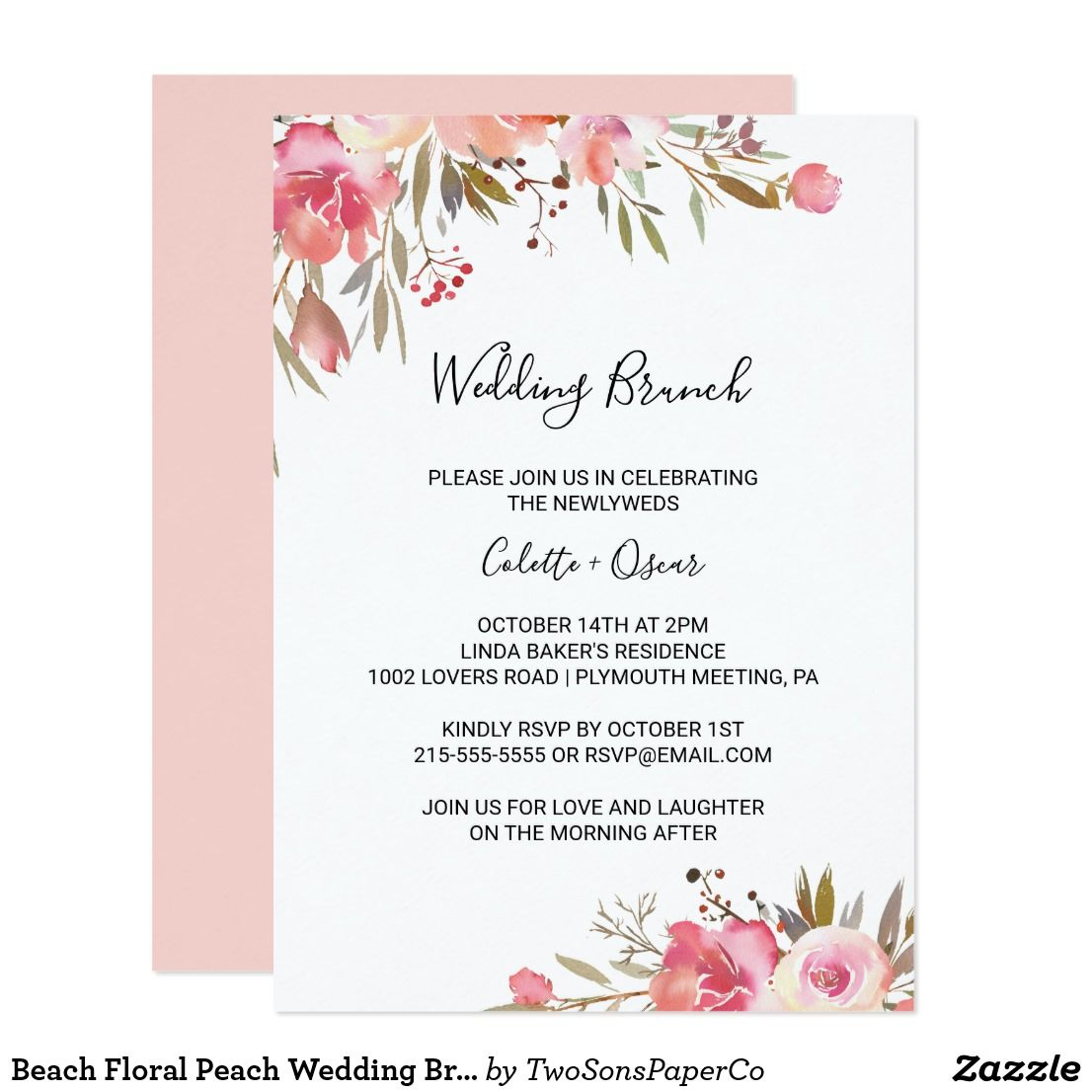 Beach Floral Peach Wedding Brunch Invitation Wedding Brunch Invitations Brunch Wedding Wedding Invitations