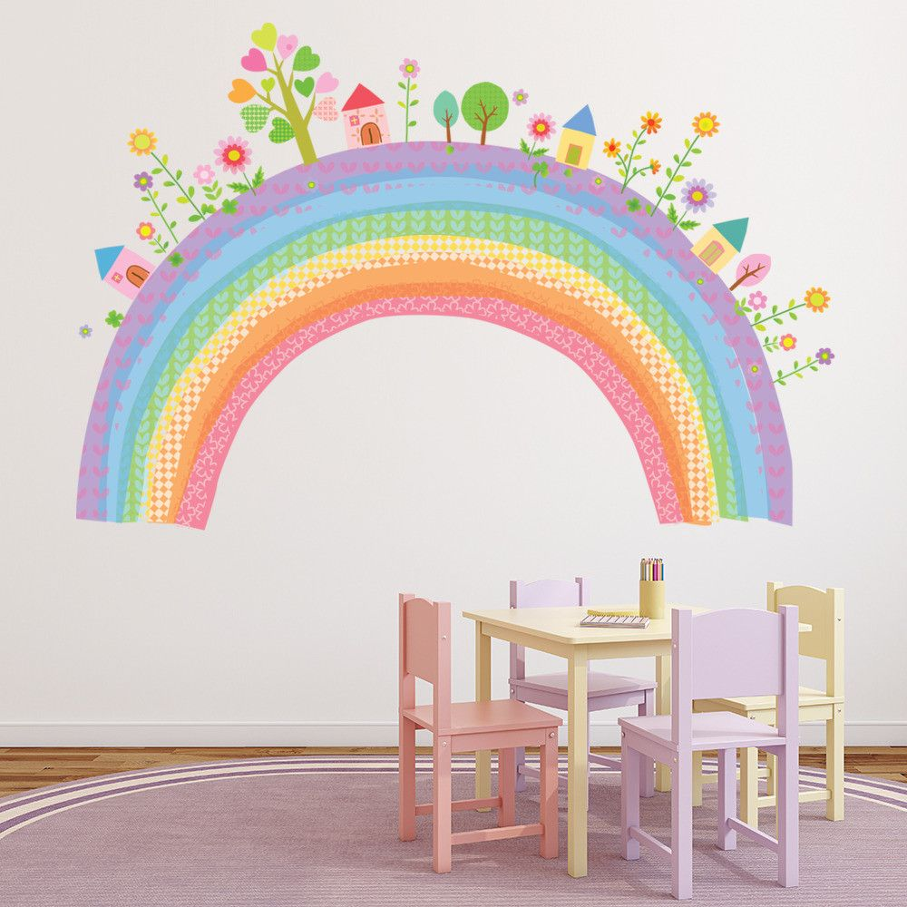 City Rainbow Nursery Wall Sticker Nursery Wall Stickers Rainbow