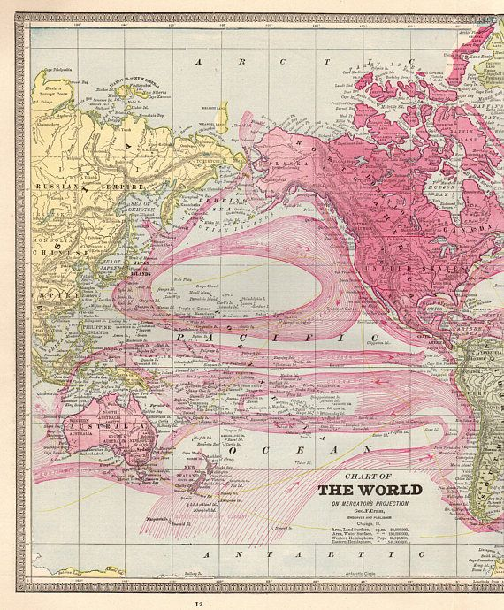 1901 Antique Map of The WORLD Vintage World Map Gallery Wall - new antique world map images