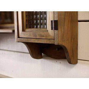 Slim Cabinet & Mirror Shelf Vanity Antique Brown w80d15h60cm Set Wooden …