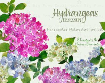 Digital Clipart Watercolor Flower Hydrangeas Clip Art Floral Bouquet Wedding