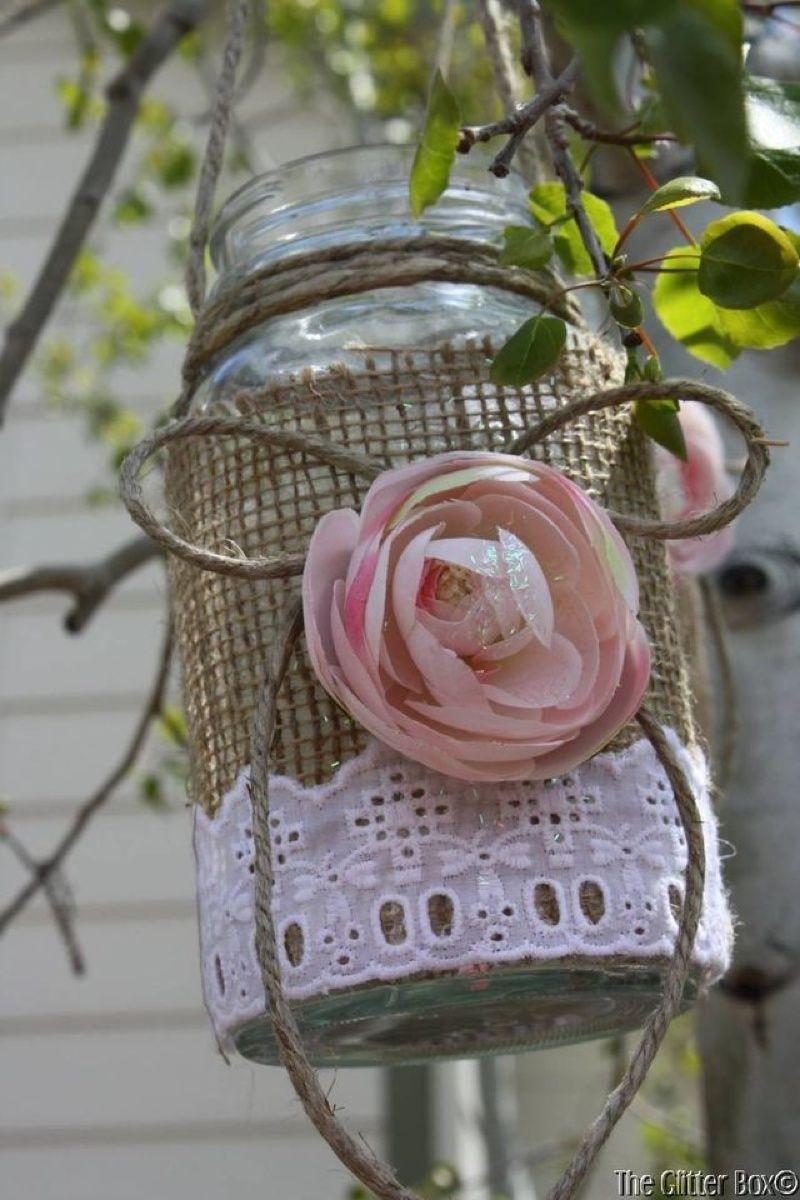Burlap u lace hanging mason jars Sweet ideas Pinterest