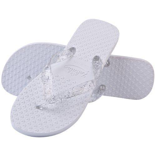 Zohula White Wedding Flip Flops - 10 Pairs per Box (UK Small 3-4