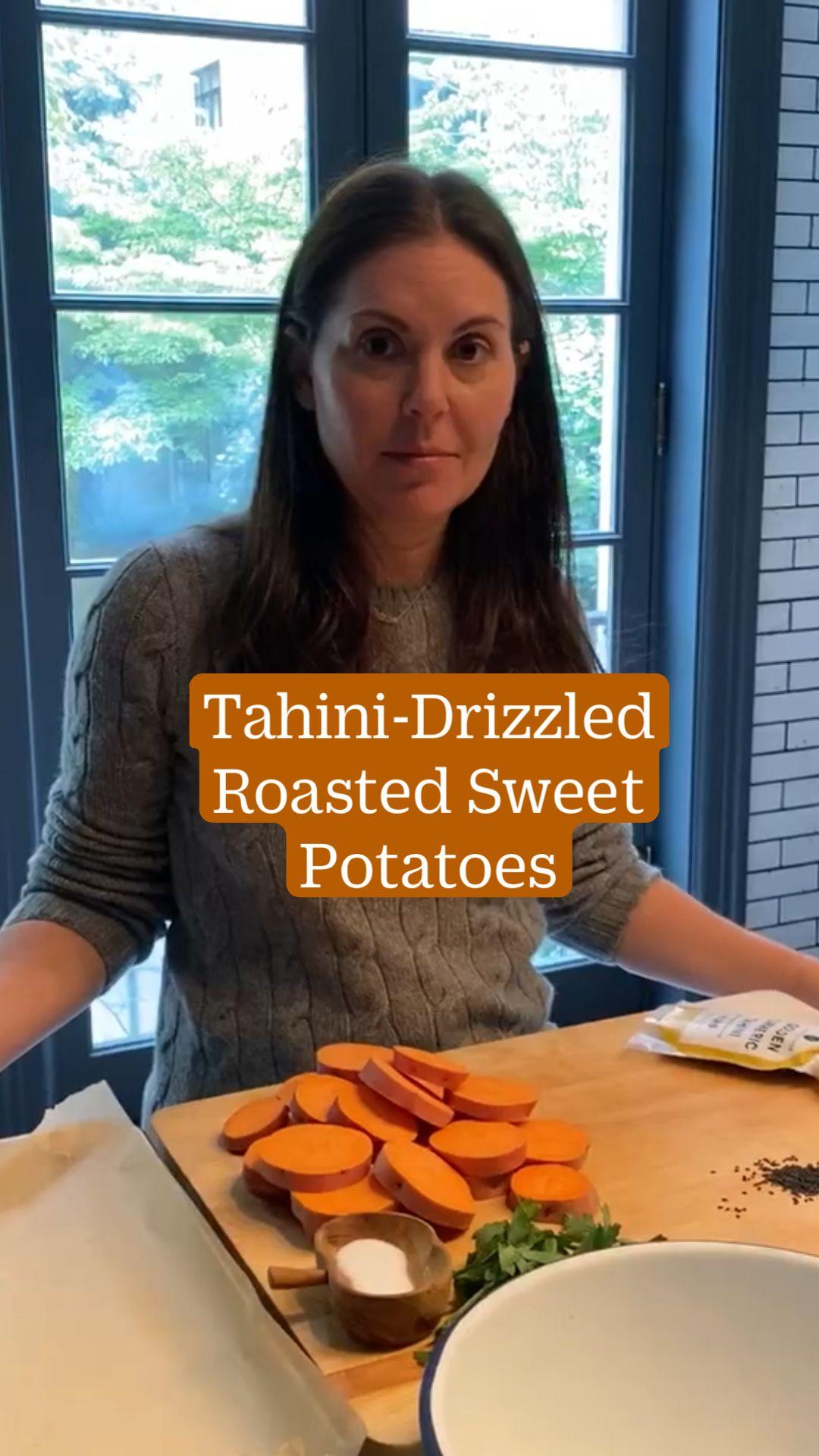 Golden Tahini Roasted Sweet Potatoes