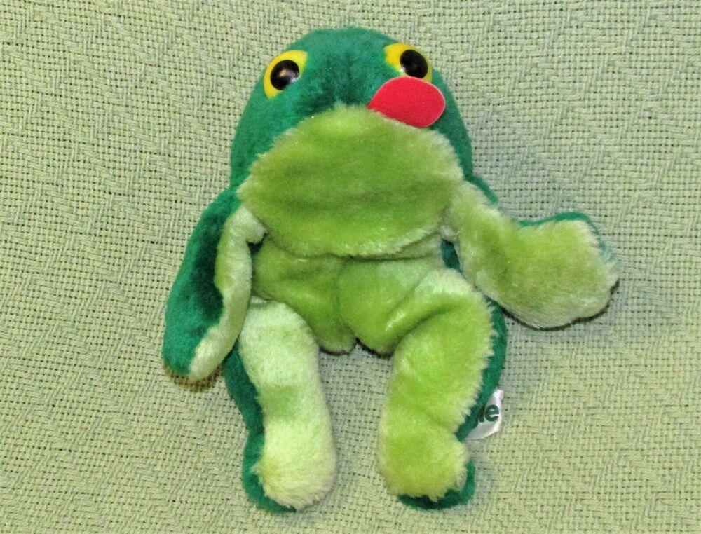 Vintage Russ Fleegle Frog Stuffed Animal 9 Green Plush Ground Nutshell Korea Russ Animals Plush Korea