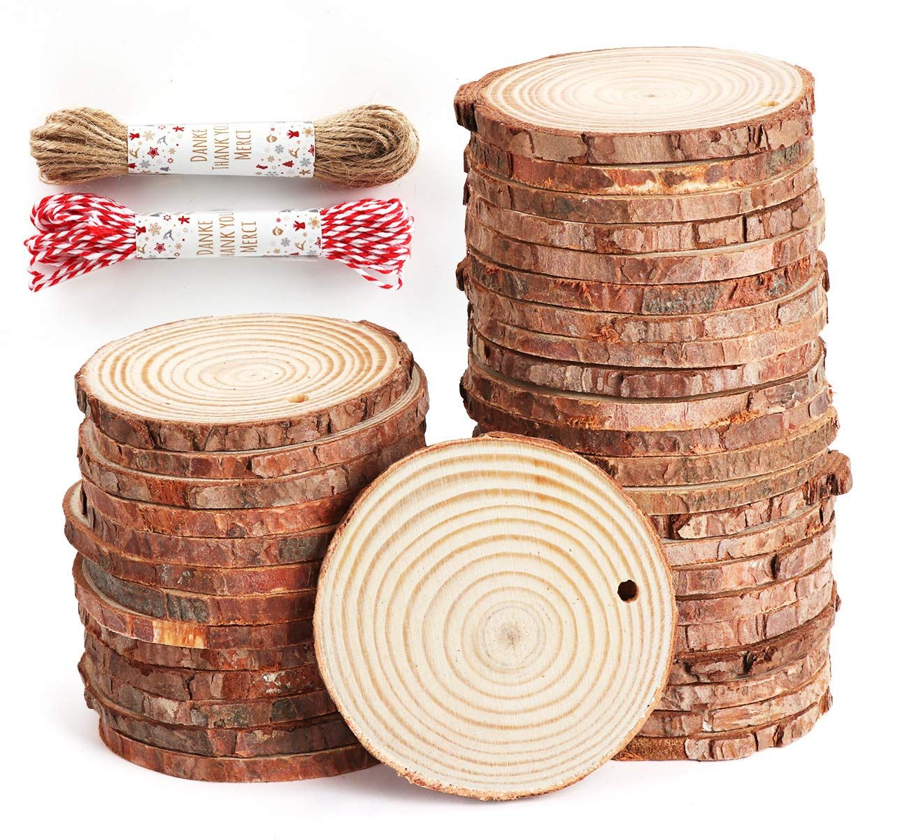 Natural Round 3-7cm Wooden Slices Rustic Wedding Table Decoration Home Craft DIY