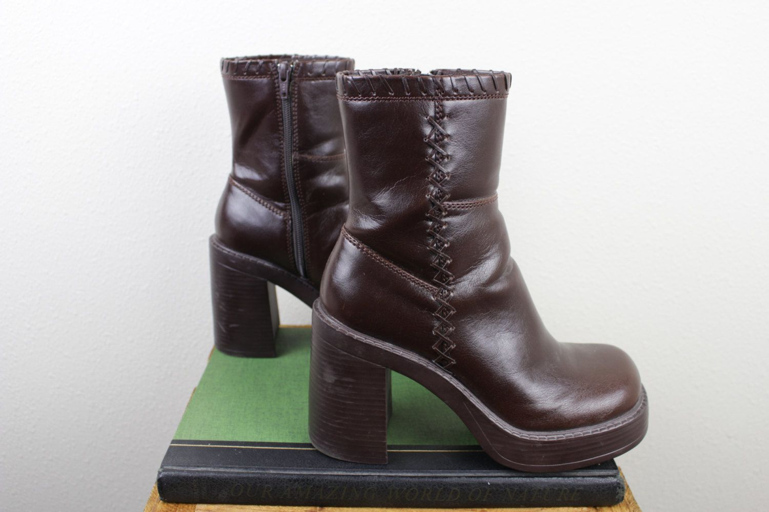 525b6ed1f967 Vintage Bongo Chunky Boots | 90s Vegan Leather Brown Platform Zip Boot |  Size 7.5 UK 5.5 Euro 38
