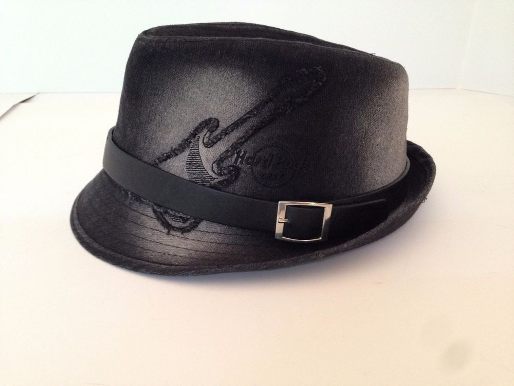 Hard Rock Cafe Northfield Park Guitar FEDORA Black Gray HAT One Size Fits  Most 72c4f0e7061