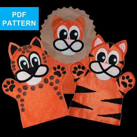 Lion tiger and cheetah felt hand puppet by for Tiger puppet template