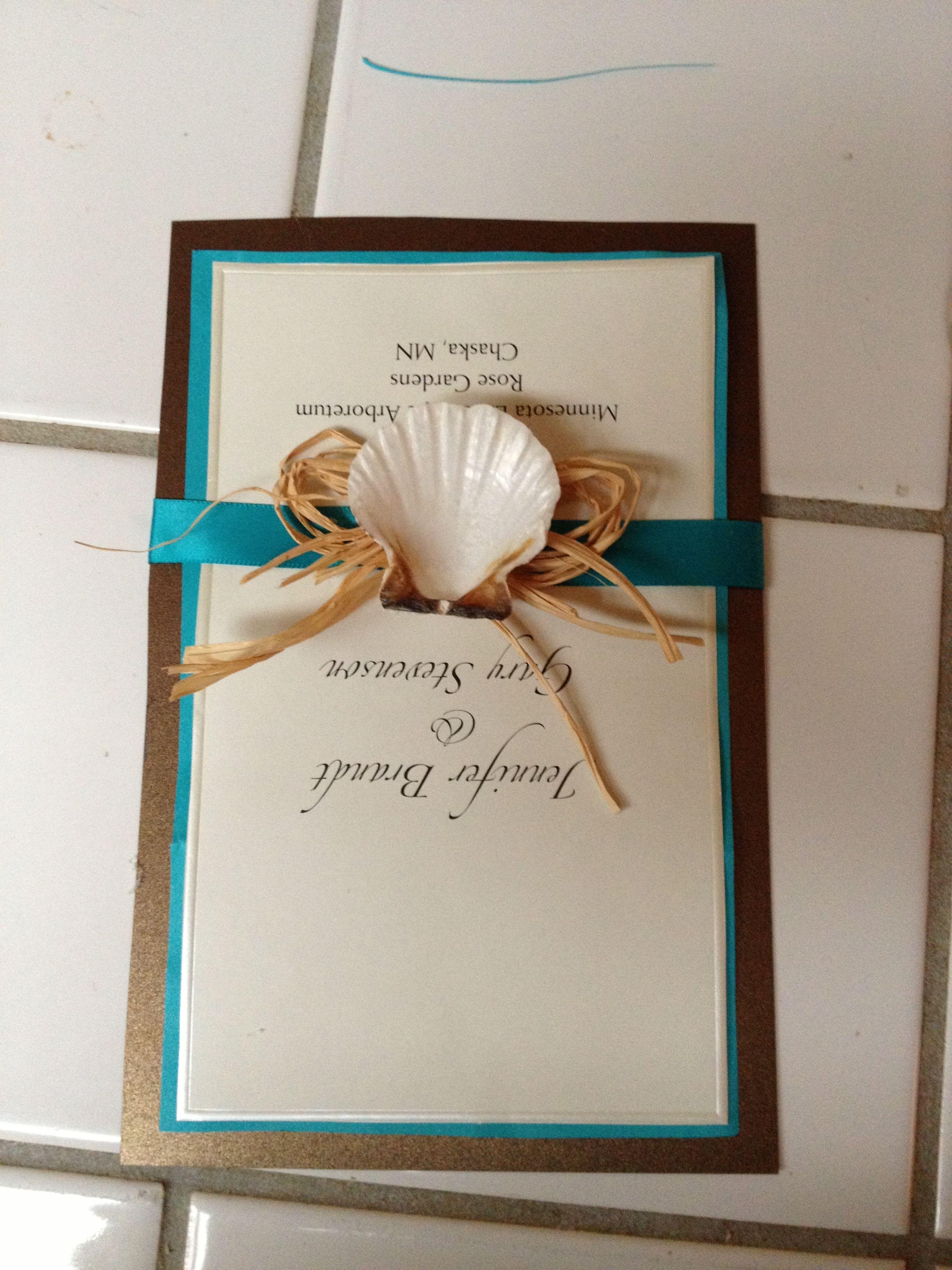 Teal Wedding invitation samples, shells raffia teal ribbon