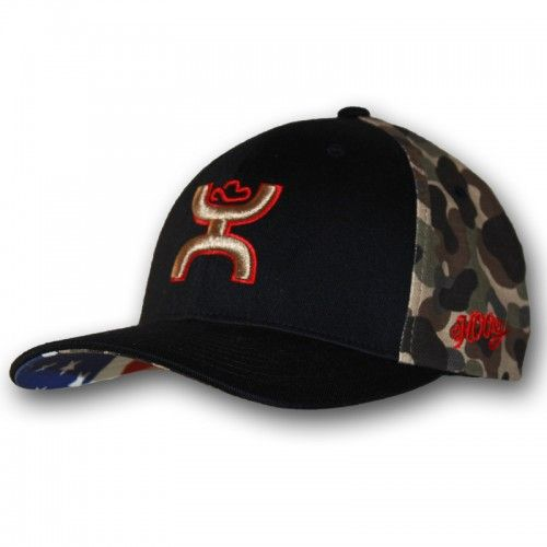 1c51b2c498883 HOOey 2015 Chris Kyle Memorial Camo and Black Flexfit Cap with Gold and Red  HOOey Hands Up Logo