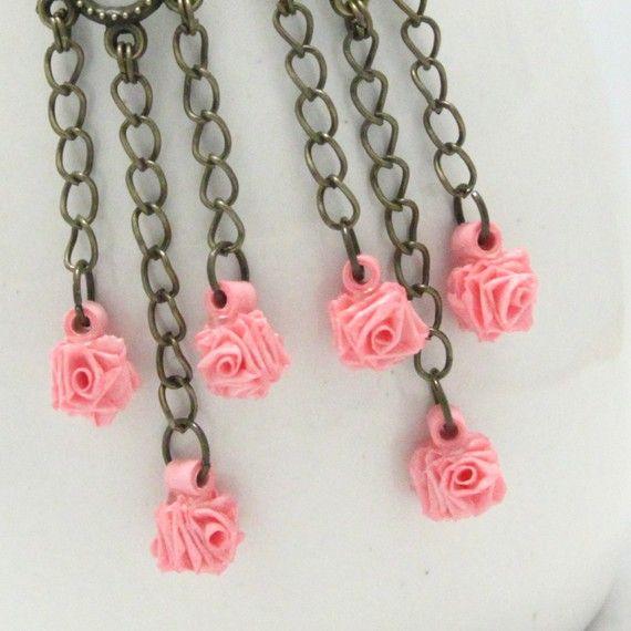 -Pink Rose Chandelier Earrings handmade Paper Quilled