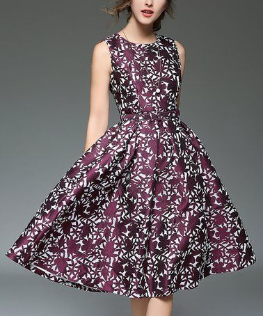 Another great find on  zulily! Purple   White Floral Fit   Flare Dress   zulilyfinds 779912e11