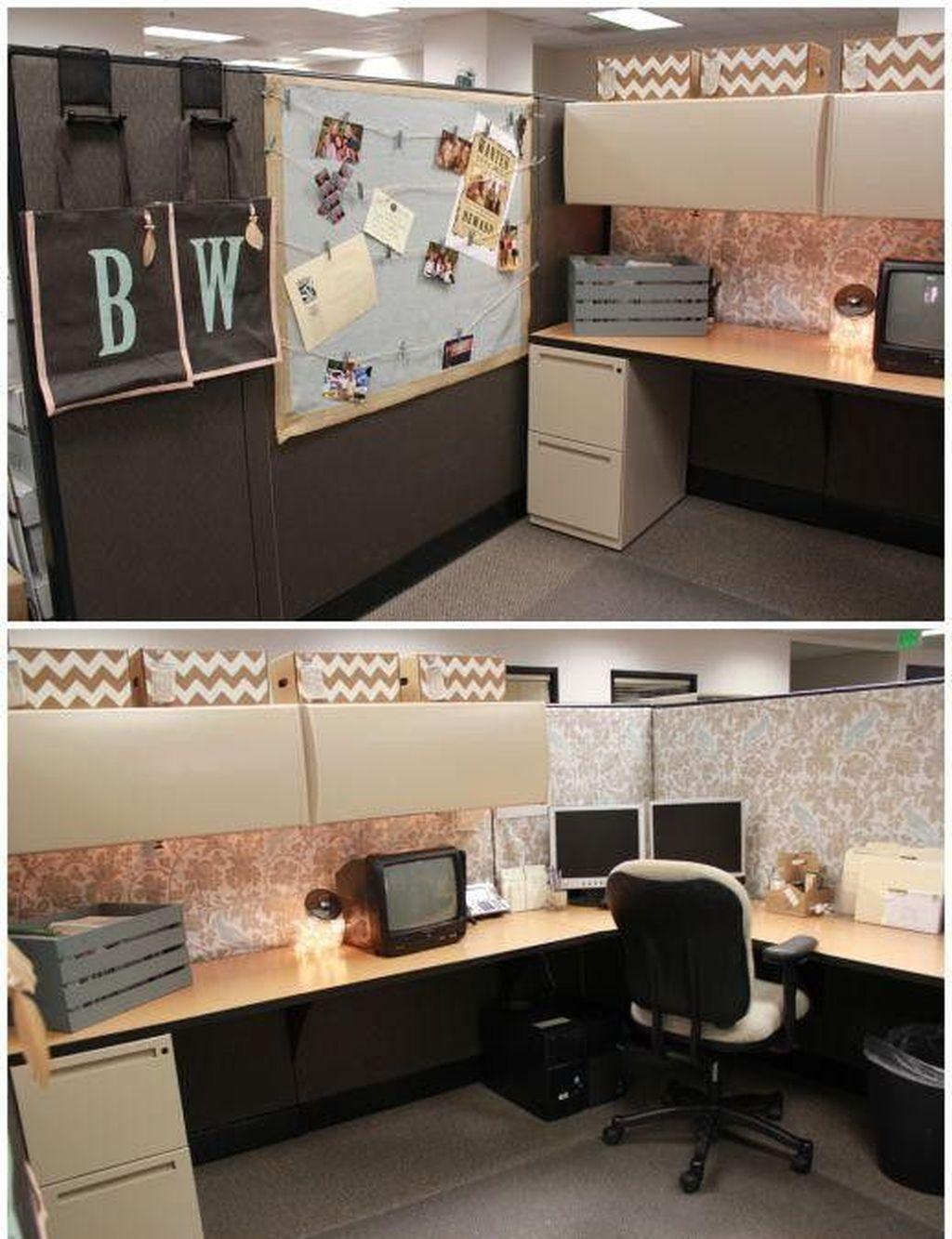 46 Inspiring Office Cubicle Decoration Ideas Cubicle Decor Office Office Cubicle Office Decor Professional