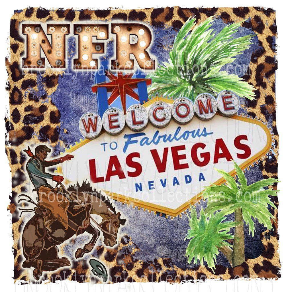 Nfr Vegas Sign Art Rodeo Bucking Horse Sublimation Transfer Ready To Press Leopard Cheetah Sign Art Vegas Sign Rodeo