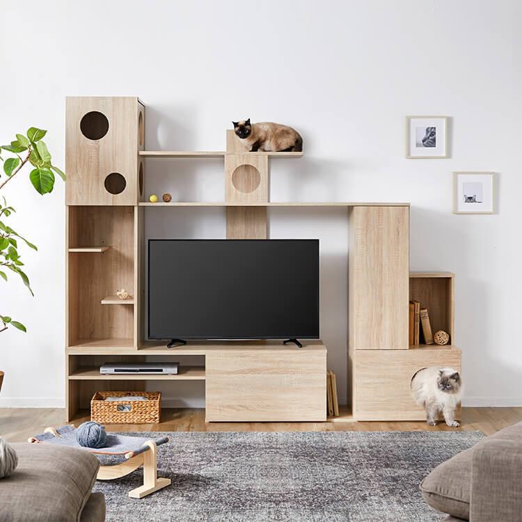 壁面収納テレビ台 左右両側昇降可能 木製 キャットタワー一体型 幅220 公式 Lowya ロウヤ 家具 インテリアのオンライン通販 2020 家具のアイデア インテリア 家具 猫の家具