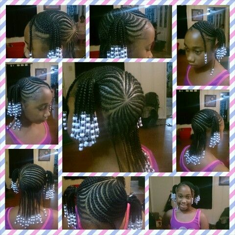 Justataste Of The Magicfingers Braided 2 Ponytails With Designs On A 9 Year Old Protectivestyle Hair Styles Little Girl Braids Lil Girl Hairstyles
