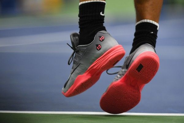 0dd4e92ba87 pain s Rafael Nadal shoes are seenn during his Qualifying Men s Singles  match at the 2017 US Open Tennis Tournament on August 29