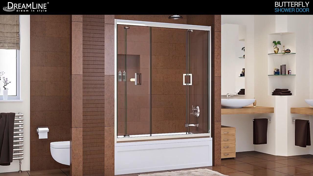 Dreamline Butterfly 30 To 31 1 2 In X 72 In Semi Frameless Bi Fold Shower Door In Chrome Shdr 4532726 01 The Home Depot In 2020 Shower Doors Bifold Shower Door Dreamline