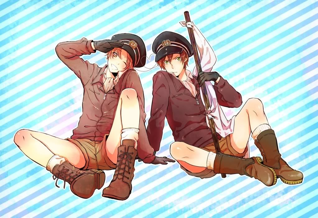 Romano: *rolls eyes* Hold this white flag yourself. I don't want to be seen with such a retarded thing in my hands.