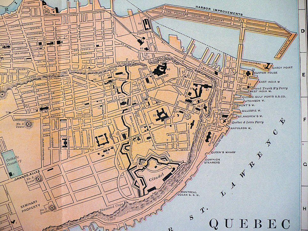 Antique Color Map Quebec Canada