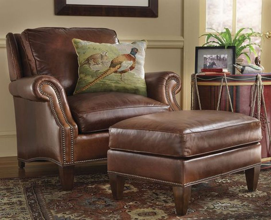 leather armchair and ottoman set