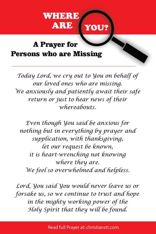 Where are you? A prayer for those who are missing Lord - missing person picture