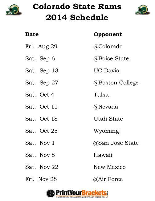 Printable Colorado State Rams Football Schedule 2014 Alabama