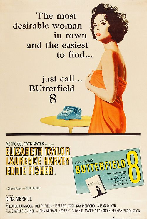 Movie Poster, Butterfield 8, starring Elizabeth Taylor, 1960