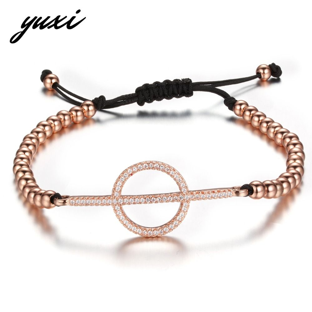 Yuxi bling crystal round circle bar rivet charm bracelets for women