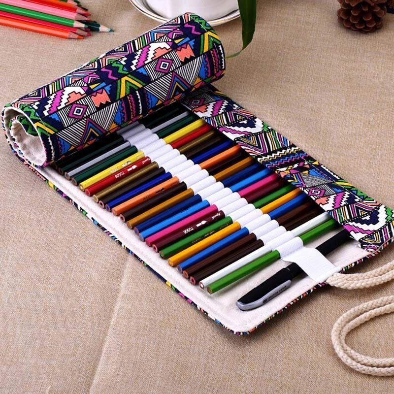 New 36 48 72 Holes Canvas Wrap Roll Up Pencil Bag Pen Case Holder ...