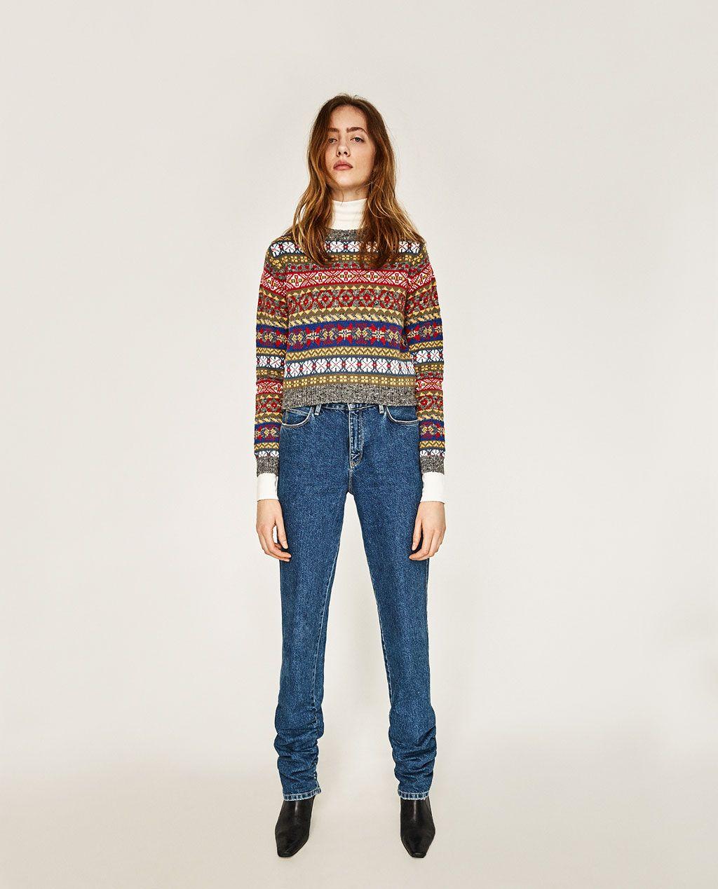 Imatge 1 de JERSEI CROPPED JACQUARD de Zara | Style. Wishlist ...