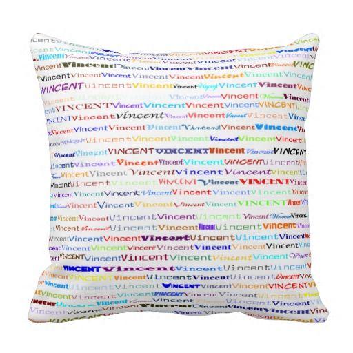 Vincent Text Design II Throw Pillow