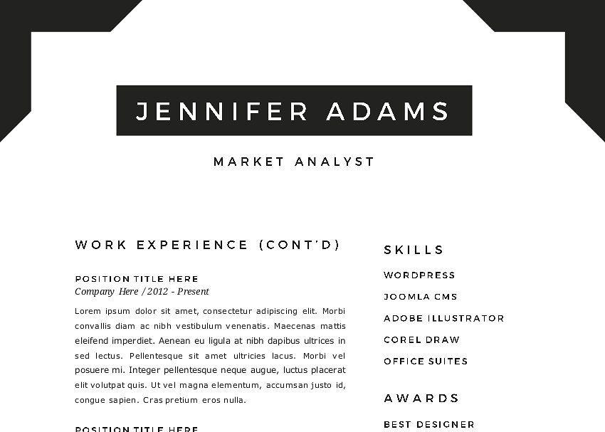 Frame 2 in 1 word resume template resumewordframe