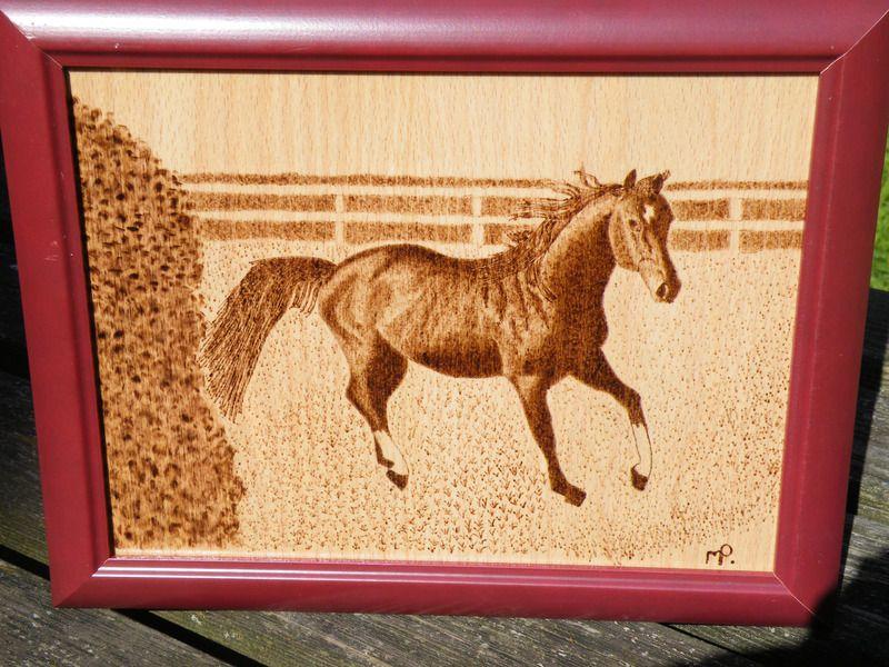 cheval pyrogravé - tableaux, peintures - Ma pyrogravure sur bois - tour a bois fait maison
