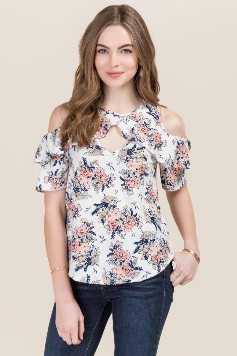 774b97186c4839 Daelyn Cold Shoulder Floral Top