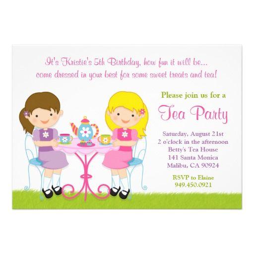 Girls Tea Party Birthday Party Invitation