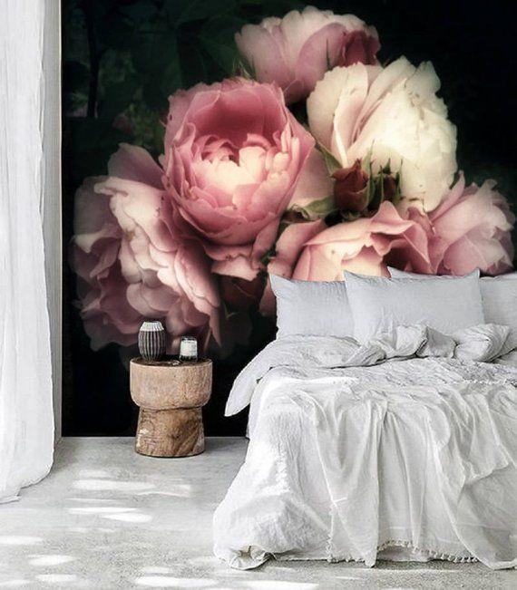 Grand fond décran de fleur, large fleur mural Peel et bâton fond décran floral, fond décran floral amovible Soft Roses Black Floral Wallpaper #75