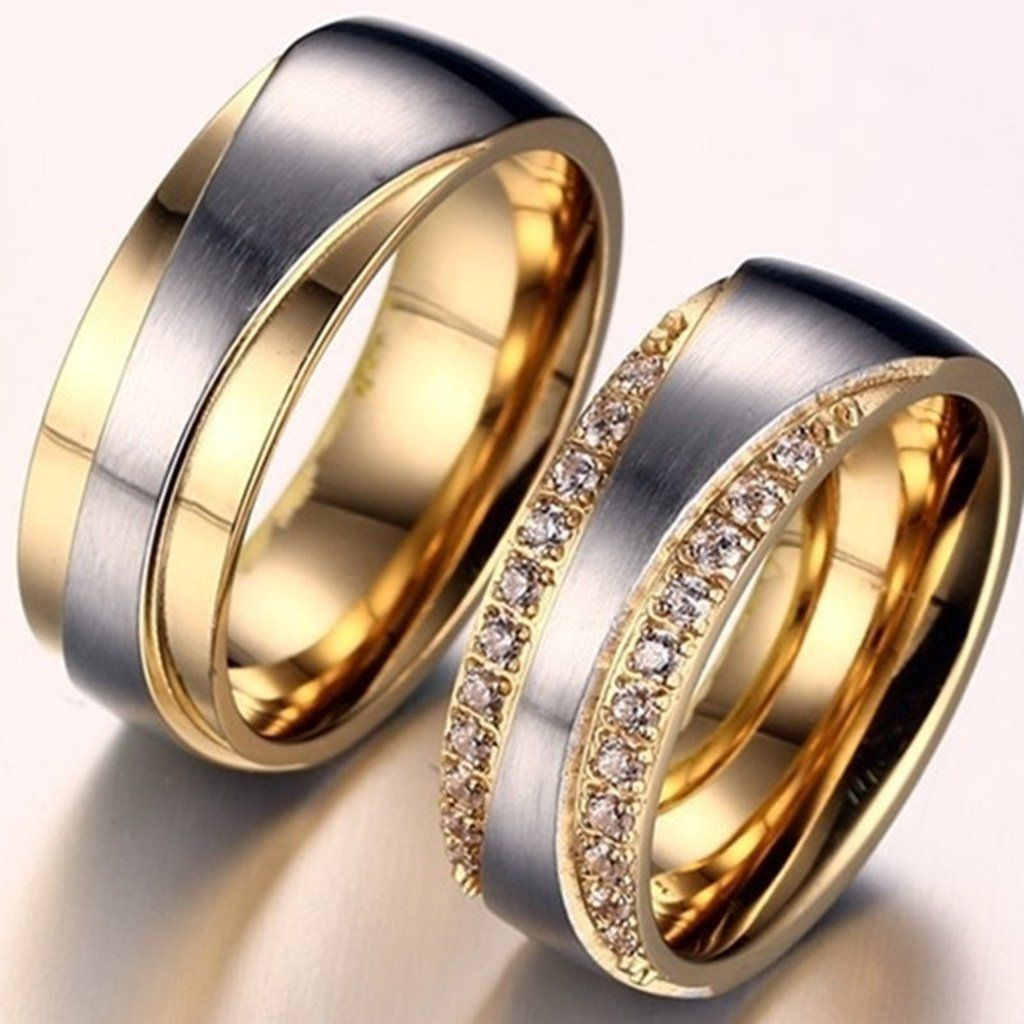 18k Gold Plated Alliance Ring Cz Wedding Band Diamond Ring For Women Engagement Ring White Gold Tungsten Carbide Wedding Rings Unique Diamond Engagement Rings