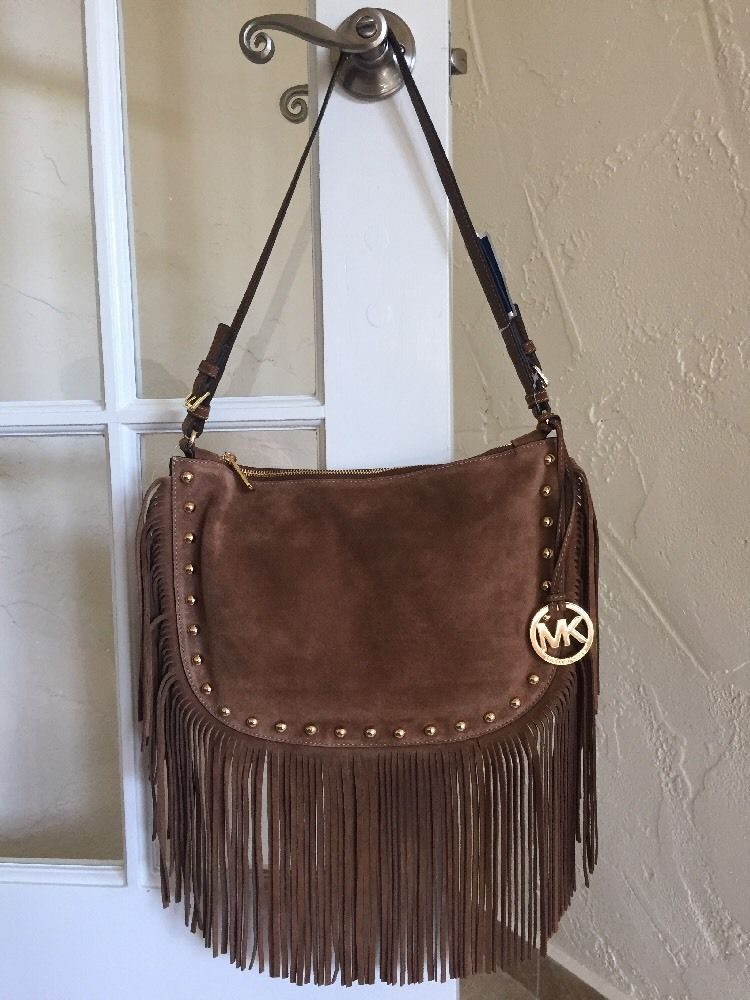 abc68d9851f2 Michael Kors Dakota Medium Hobo Dark Caramel Suede Fringe Studs Boho | eBay