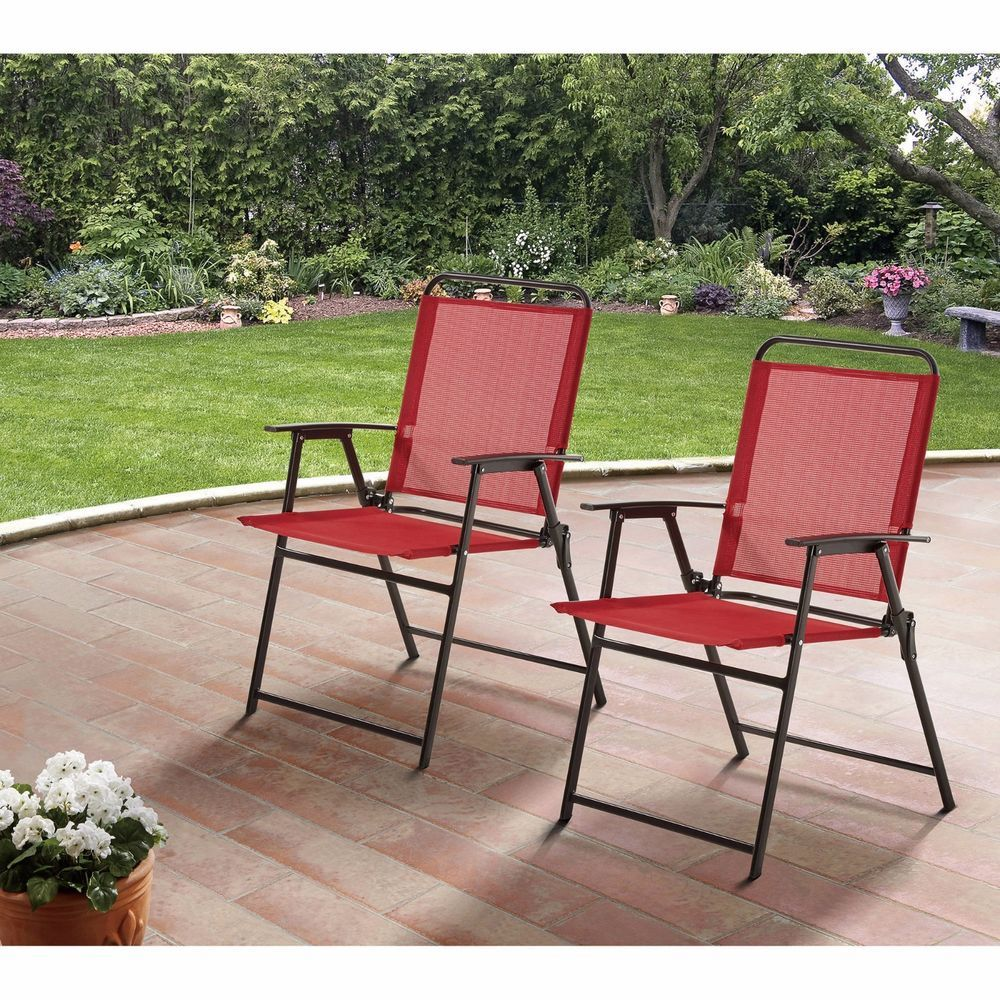 Outdoor Metal Folding Chairs Patio Garden Camping Pool Furniture Set Of 2  Red #MS