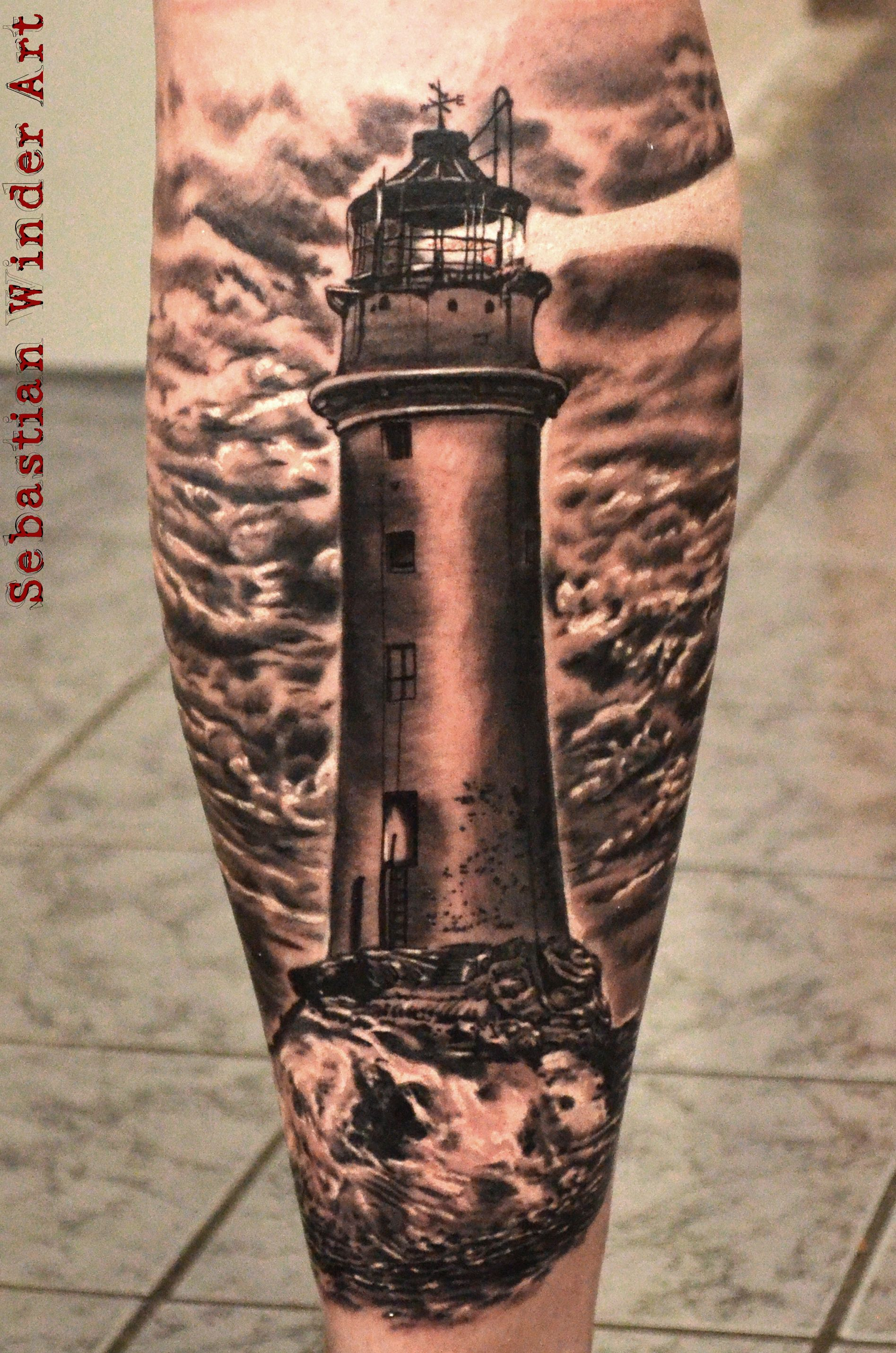 Leuchtturm lighthouse tattoo by sebastian winder from germany essen - Tattoo leuchtturm ...
