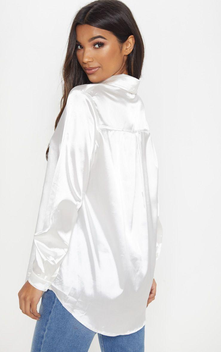 dfa414ed09b White Satin Button Front Shirt in 2019 | Products | White satin ...