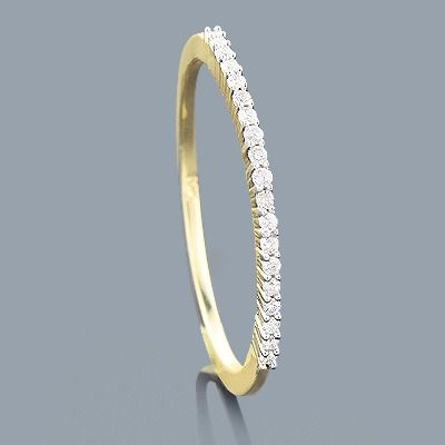 Ultra Thin Slim Round Diamond Wedding Band 010ct 14K