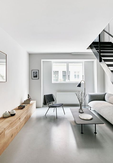 epoxy flooring house living room bright and open living room with clean lines all the way light grey epoxy designdirektrens nye bolig p nrrebro in 2018 living pinterest